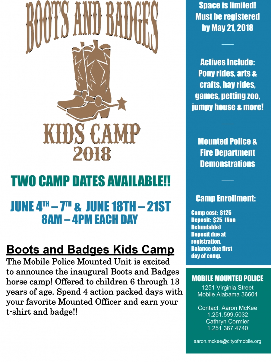 Boots and Badges Kids Camp 2018